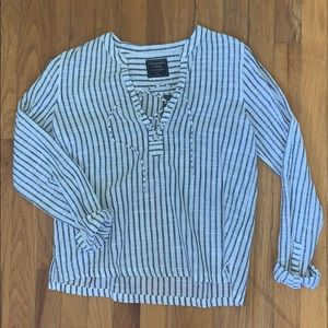 navy and white striped popover